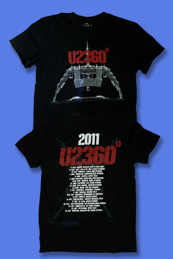 "U2 - 2011 ""360 TOUR"" NORTH AMERICA CONCERT TOUR T-SHIRT /  SZ. M"