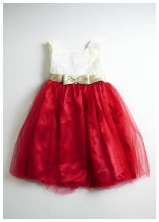 NEW LA Princess Cream/Red Girls' Holiday Dress with Gold Bow, 4T