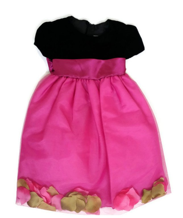 NEW CRAYON KIDS Black/Pink Flower Petals Christmas Special Occasion Dress, 4T