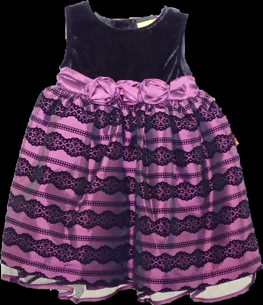 NEW Penelope Mack Girl's Black Velvet/Purple Holiday Dress, 18 Months