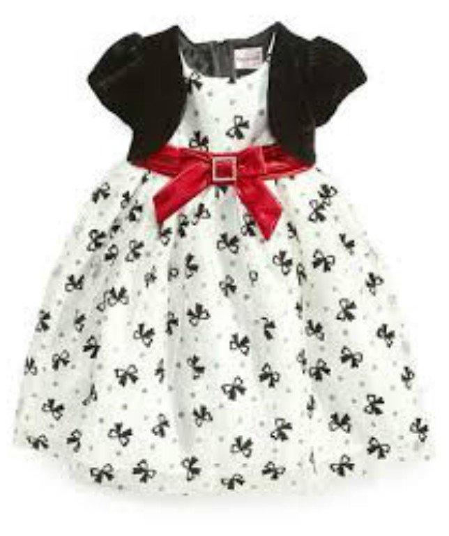 NEW Nannette Girls White/Black Dress with Red Sash, 24months