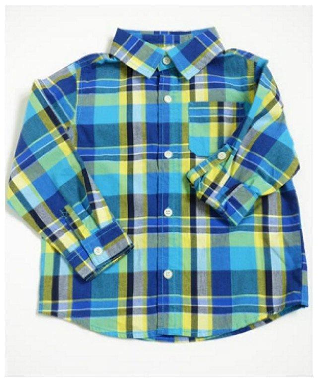New Crazy 8 Turq Blue/Yellow/Green Striped Boys' Long Sleeve Shirt, 3T