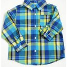 New Crazy 8 Turq Blue/Yellow/Green Striped Boys' Long Sleeve Shirt, 3T