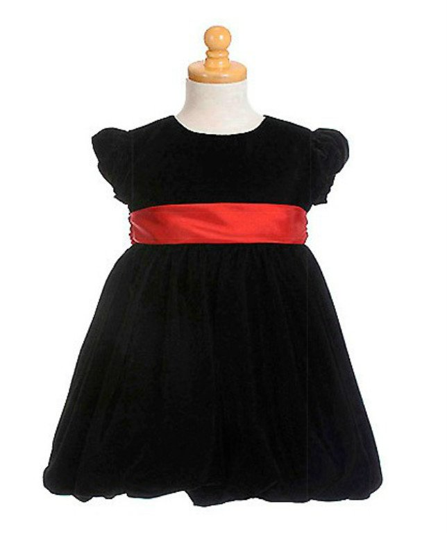 NEW CRAYON KIDS Red Sash Black Velvet Baby Girl Dress, 12 Months