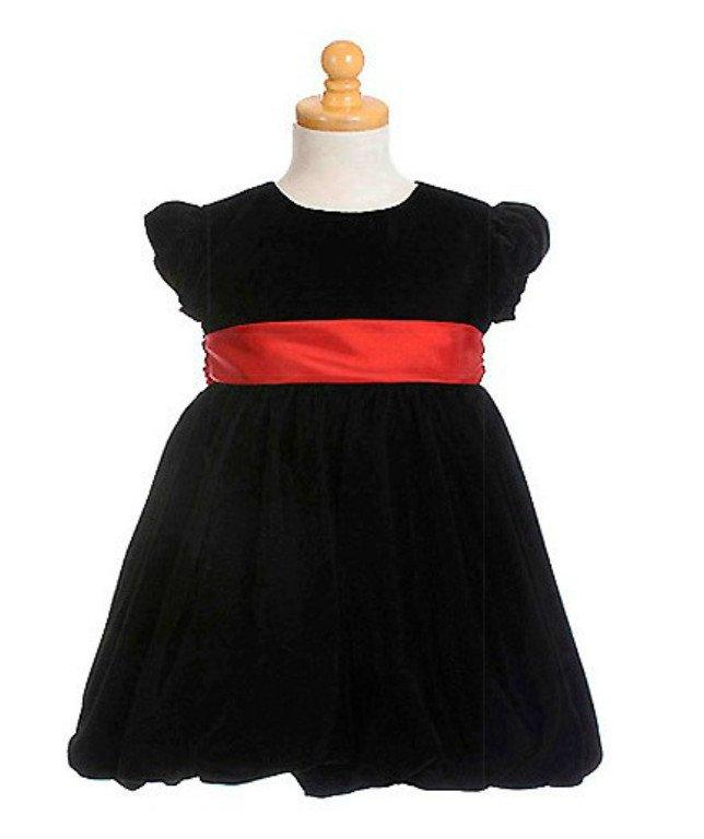 NEW CRAYON KIDS Red Sash Black Velvet Baby Girl Dress, 18 Months