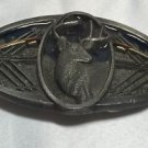 Vintage 1993 C&J Silvertone/Enamel Deer Head Bow Hunting Belt Buckle Archery USA