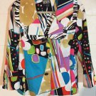 Berek White/Multi Color Button Up Front Long Sleeve Jacket~Sz-Large
