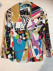 Berek White/Multi Color Button Up Front Long Sleeve Jacket~Sz-Large