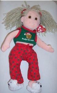 "TY 2001 Beanie Boppers ""Jolly Janie"" Christmas Plush Doll March 30 Birthday"