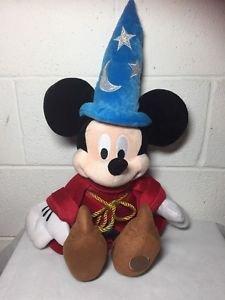 "Genuine Disney Store 24"" Fantasia Mickey Mouse Sorcerer Stuffed Plush Wizard"