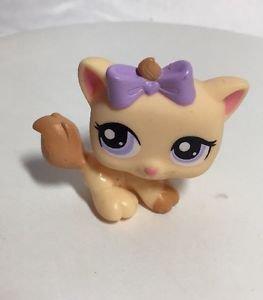 Littlest Pet Shop LPS #1337 Orange Petriplets Kitten Cat Purple Eyes Bow