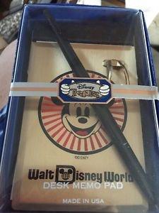 Vintage Mickey Mouse Disneyland Park Desk Memo Pad Pen Walt Disney Productions