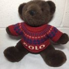 "Polo Ralph Lauren 2000 Plush Bear Nordic Sweater 15"" Stuffed Toy Dark Brown"