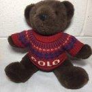 "Polo Ralph Lauren 2000 Plush Bear Nordic Sweater 15"" Stuffed Toy Dark Brown"