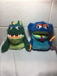 """Manhattan Toys 9"""" MONSTER Hand Puppet Plush Dolls New With Tags NWT Lot Of 2"""