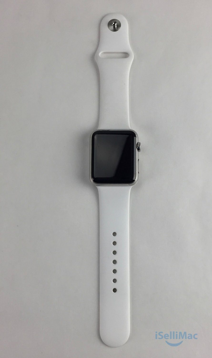 Apple WATCH 42mm Stainless Steel Case White Sport Band (NJ3U2LL/A) + Warranty!