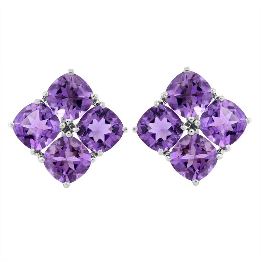 Violet genuine amethyst earrings, amethyst earrings, Silver Earrings 9.4 g.