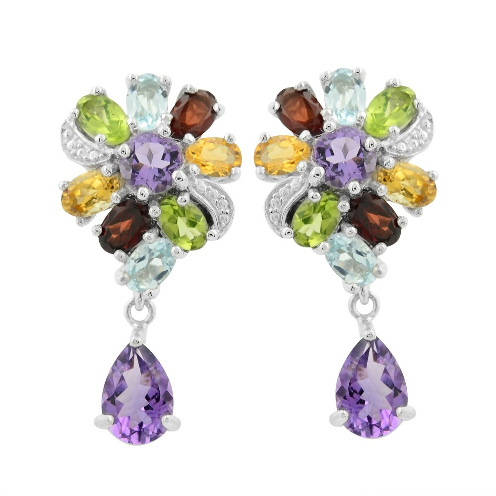 Green Gemstone,Purple Amethyst , Amethyst Earrings, Silver Earrings, 14.28 g.