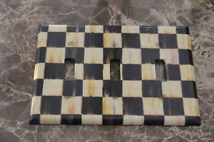 Switch Plate Cover 3 Toggle made w/Mackenzie Childs Courtly Check Tissue Paper
