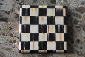 4 x 4 Ceramic Tile Coaster made with Mackenzie-Childs Courtly Check Tissue Paper
