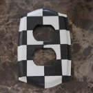 Double Socket Switch Plate made Black and White Checkered Paper