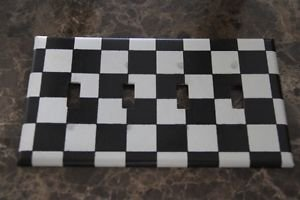 Quad Gang Switch Plate made Black and White Checkered Tissue Paper