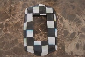 Single Rocker Switch Plate made with Black and White Checkered Paper