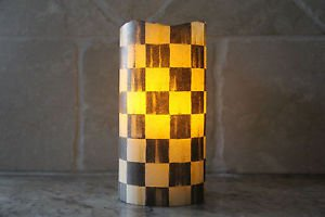 Vanilla Flameless LED Candle made w/Mackenzie Childs Courtly Check Tissue Paper