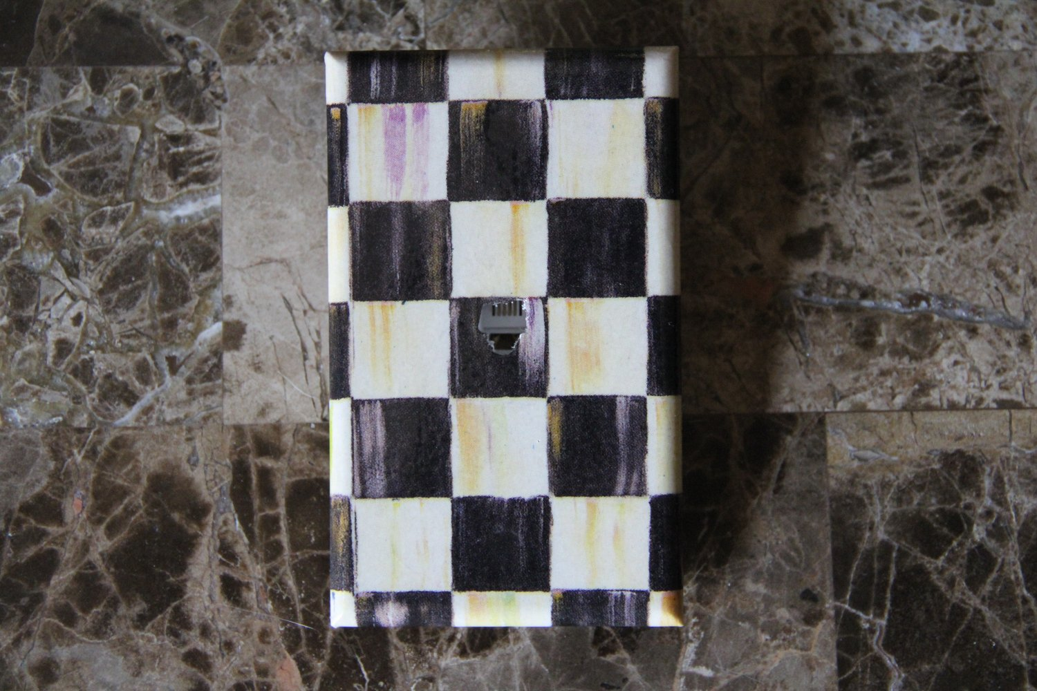 Phone Jack Plug Switch Plate made w/Mackenzie Childs Courtly Check Tissue paper