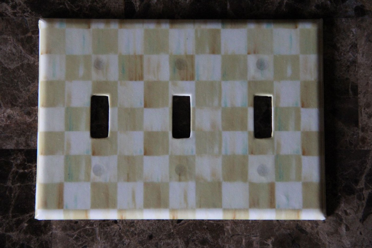 Switch Plate Cover 3 Toggle made w/Mackenzie Childs Parchment Check Paper