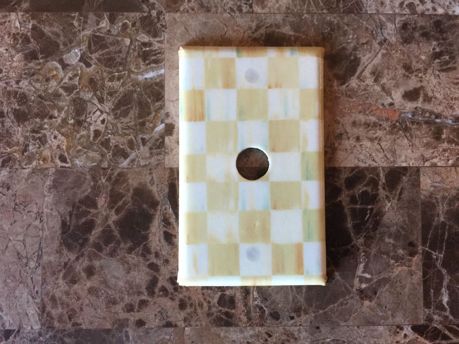 Coaxial Cable Audio Switch Plate made w/Mackenzie Childs Parchment Check Paper