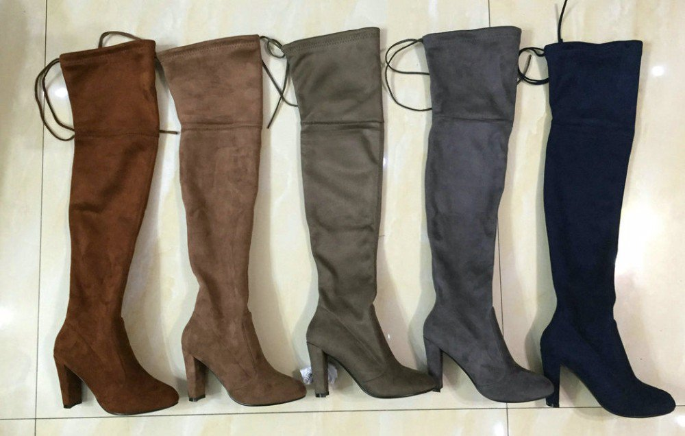 Women Faux Suede Thigh High Boots