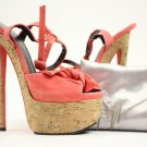 Giuseppe Zanotti Salmon Suede Bow Tie Cork Peep Toe Stiletto Pump Heels Gssty03 Coral Platforms