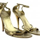 Gucci Metallic Ankle Strap Heeled Sandals With Gold Heel Lbslm85 Bronze Pumps
