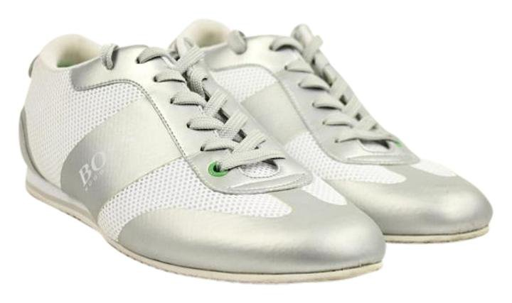 Hugo Boss Low Top Sneakers Hbjy1 White Silver Athletic Shoes