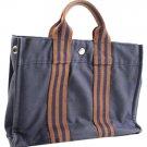 Hermès Striped Tote Herty14 Blue Satchel