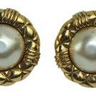 Chanel Matelasse Trim Faux Pearl Clip On Earrings CCJY38