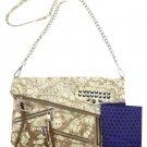 Rebecca Minkoff Harper Snakeskin Multicolor Clutch Msml13 Silver / Brown Cross Body Bag
