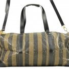 Fendi Striped Boston Keepall Bandouliere Travel Luggage 163613 Fflm18 Black And Brown Travel Bag