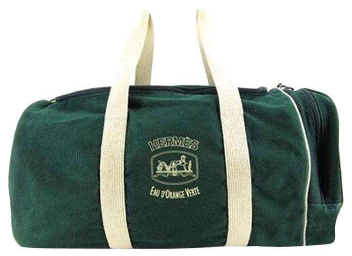 Hermès Herms Duffle Green And White Herlm12 Dark Green Travel Bag