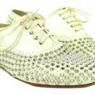 Christian Louboutin White Freddy Spiked Lbslm12 Flats