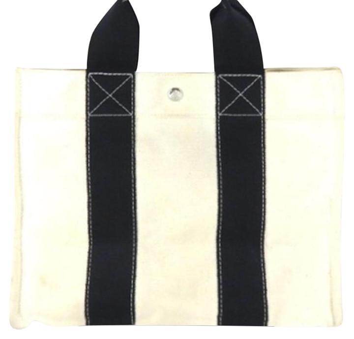 Hermès Bicolor Toile 208044 Ivory X Black Tote Bag