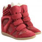 Isabel Marant Red Leather Suede Bekett Sneaker Hidden Wedge 23ima919 Athletic Shoes
