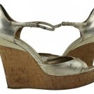Gucci Ggsl117 Sand Pelle S Gomma Cork Sandals Sz 6.5 Gold Wedges