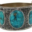 Natural Stone Cuff Bracelet Bangle Turquoise Quartz JTL01