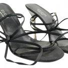 Gucci Satin Strappy Stiletto Heels Pumps Ggsl116 Black Silver Sandals