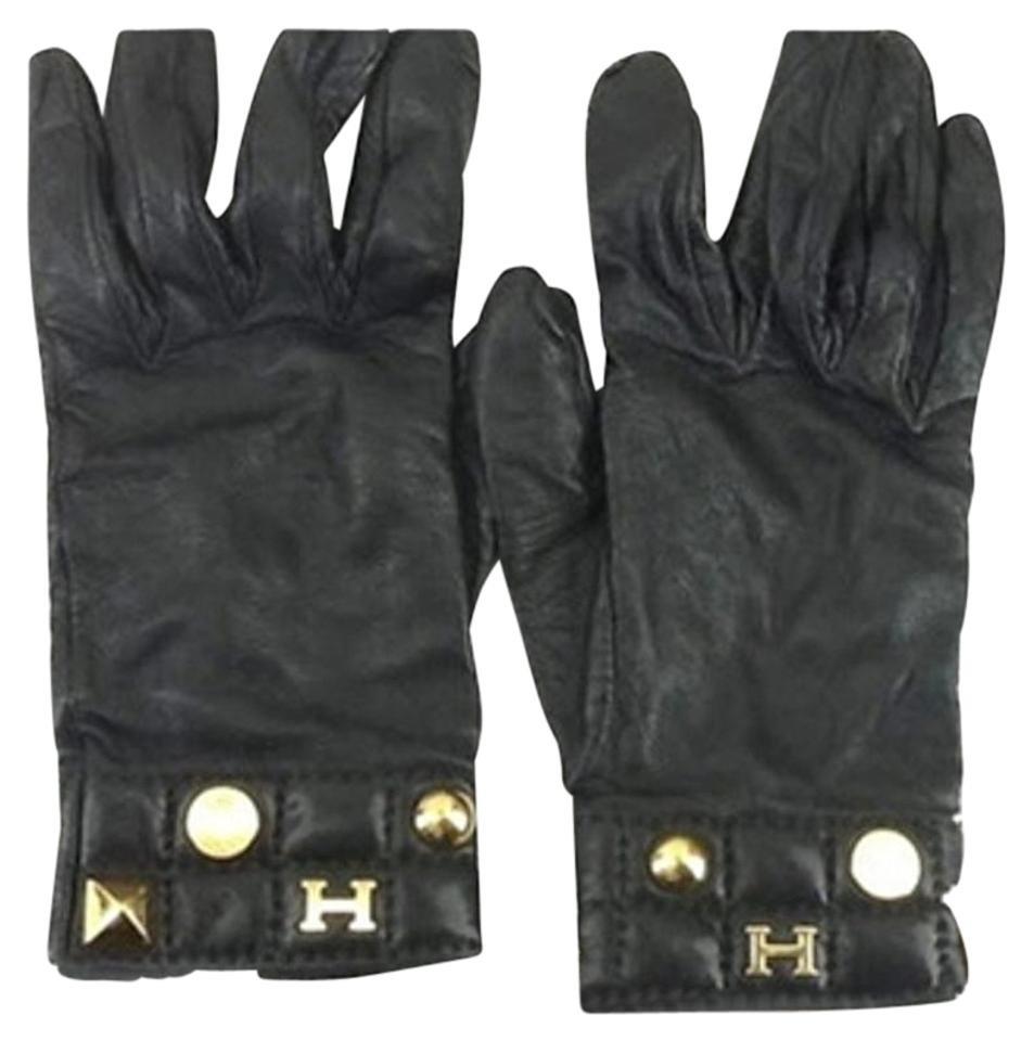 Hermès Hermes H Logo Leather Gloves Size 7.5 172422 HTL44