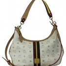 MCM White Monogram Hobo Cross Body Bag