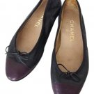 Chanel Navy X Purple Cc Cap Toe Ballerina 210568 Flats