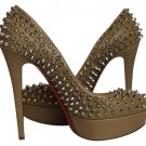 Christian Louboutin Updated Bianca Nude Beige Silver High Heels Slblm1 Pumps